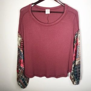 By Together Floral Patchwork Sleeve Blouse Small